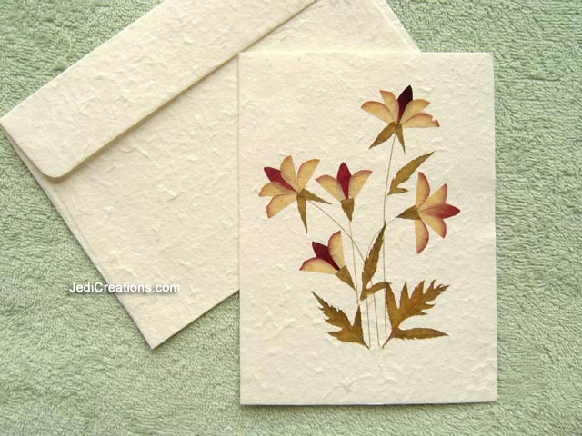 SAACA BFL103 White Saa Paper Greeting Cards With Pressed Flowers