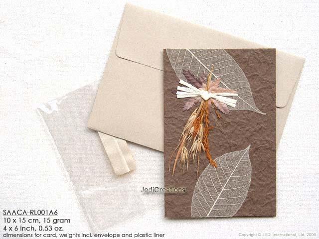 Wholesale mulberry paper greeting cards manufacturer artisans click for larger image saaca rl001a6 brown mulberry paper greeting cards m4hsunfo