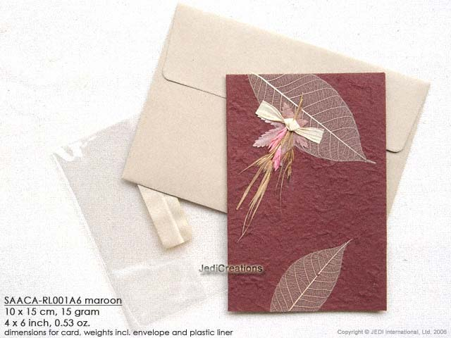 Wholesale mulberry paper greeting cards manufacturer artisans click for larger image saaca rl001a6 maroon mulberry paper greeting cards m4hsunfo