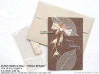 Click for larger image: SAACA-RL001A6 Happy Birthday! - bown - Mulberry paper greeting cards