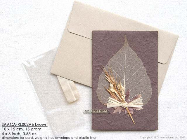 Wholesale mulberry paper greeting cards manufacturer artisans click for larger image saaca rl002a6 brown mulberry paper greeting cards m4hsunfo