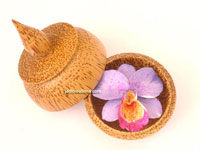 Carved soap flower in Asian design coconut wood container SOAPFL-CN103, manufacturer, exporter, wholesale supplier directly from Thailand