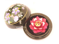 Carved soap flower in lacquered mango wood container SOAPFL-ML101 large, manufacturer, exporter, wholesale supplier directly from Thailand