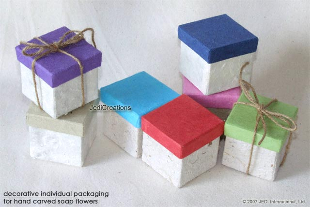 a colorful selection of attractive, natural mulberry paper boxes