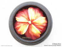 Orange yellow hand carved Chinese Rose soap flower