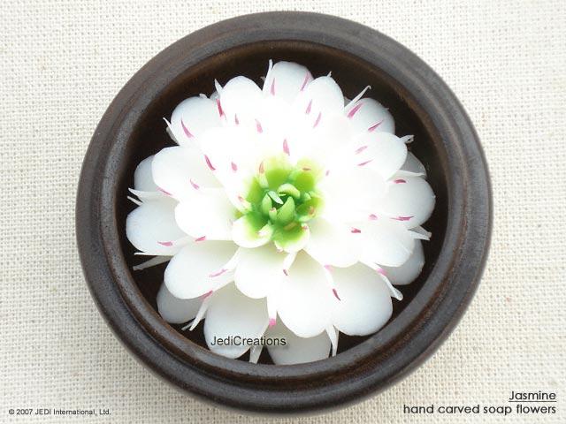 White Green Jasmine Soap Flower Thai Artisans