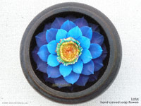 Blue-yellow Lotus soap flowers