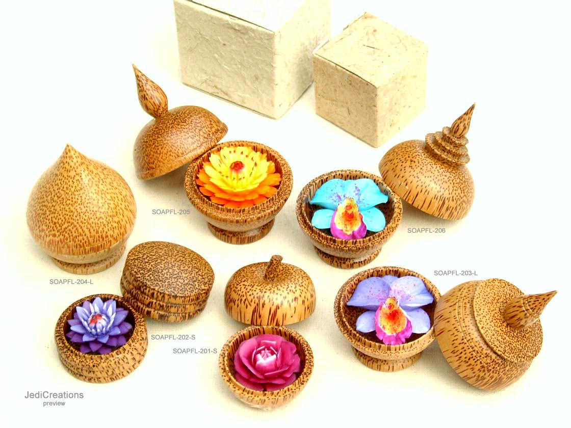 Soap flowers in styled coconut wood boxes