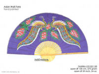 FULL IMAGE: FANWA-GS102 Peacocks - Hand Painted Asian Wall Fans - Wholesale, Manufacturer Artisans Thailand