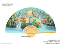 FULL IMAGE: FANWA-GS103 Waterfall Herons - Hand Painted Asian Wall Fans - Wholesale, Manufacturer Artisans Thailand
