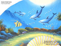 DETAIL IMAGE: FANWA-GS104 Dolphins - Hand Painted Asian Wall Fans - Wholesale, Manufacturer Artisans Thailand