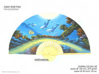 FULL IMAGE: FANWA-GS104 Dolphins - Hand Painted Asian Wall Fans - Wholesale, Manufacturer Artisans Thailand