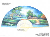 FULL IMAGE: FANWA-GS105 Farm by Day - Hand Painted Asian Wall Fans - Wholesale, Manufacturer Artisans Thailand