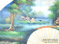 DETAIL IMAGE: FANWA-GS105 Farm by Day - Hand Painted Asian Wall Fans - Wholesale, Manufacturer Artisans Thailand