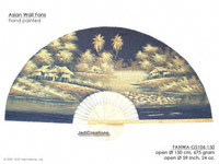 FULL IMAGE: FANWA-GS106 Farm by Night - Hand Painted Asian Wall Fans - Wholesale, Manufacturer Artisans Thailand