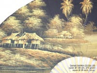 DETAIL IMAGE: FANWA-GS106 Farm by Night - Hand Painted Asian Wall Fans - Wholesale, Manufacturer Artisans Thailand