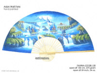 FULL IMAGE: FANWA-GS108 Waterfall - Hand Painted Asian Wall Fans - Wholesale, Manufacturer Artisans Thailand