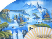 DETAIL IMAGE: FANWA-GS108 Waterfall - Hand Painted Asian Wall Fans - Wholesale, Manufacturer Artisans Thailand